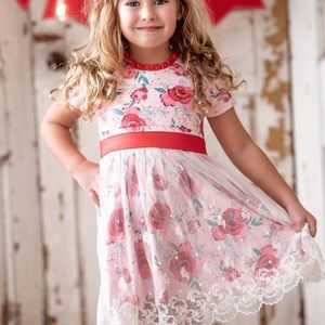 Floral Red Lace Overlay Dress